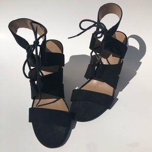 Merona Women's Open Toe Lace Up Chunky Black Heels